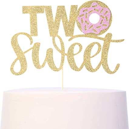 Gold Glitter Two Sweet Cake Topper Happy Two Years Old Party Decorations Supplies Childrens Second Birthday Party decoration
