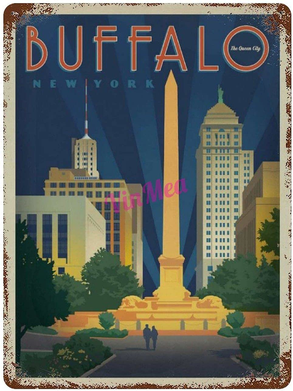 Vintage Iron Painting Buffalo, NY Retro Metal Signs Poster Wall Decor for Bar Cafe Home Garage 12×8 inches