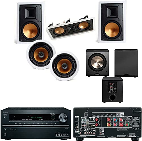 Acoustic Audio by Goldwood AA5400 Bluetooth 5.1 Speaker System with Sub Light and FM Home Theater 6 Speaker Set, Black