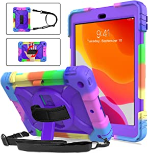 BMOUO iPad 8th Generation Case,iPad 7th Generation Case,iPad 10.2 Case,Three Layer Hybrid Shockproof [360 Rotating Stand] [Hand Strap] [Pencil Holder] Kids Case for New iPad 10.2 Inch 2020/2019-Purple