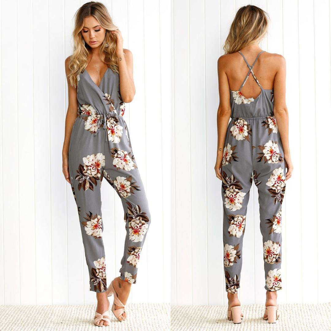 e112bddd97 Sunward Women Sexy Lace V-Neck Jumpsuits Rompers Short Pants (S, White)