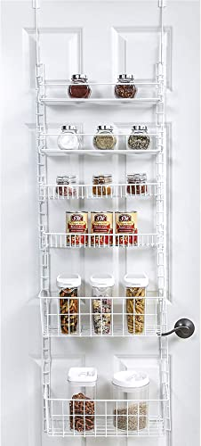 Smart Design Over The Door Adjustable Pantry Organizer Rack w 6 Adjustable Shelves – Large 58 Inch – Steel Construction w Hooks Screws – for Cans, Food, Misc. Item – Kitchen White