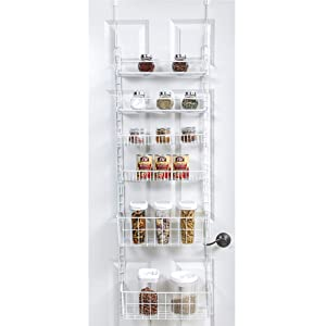 Smart Design Over The Door Adjustable Pantry Organizer Rack w/ 6 Adjustable Shelves - Large 58 Inch - Steel Construction w/ Hooks & Screws - for Cans, Food, Misc. Item - Kitchen [White]