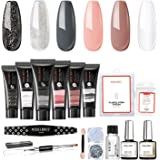 Modelones Poly Nail Gel Kit Enhancement Nude Gray Glitter Nail Extension Gel Kit with Slip Solution Trial Professional Techni