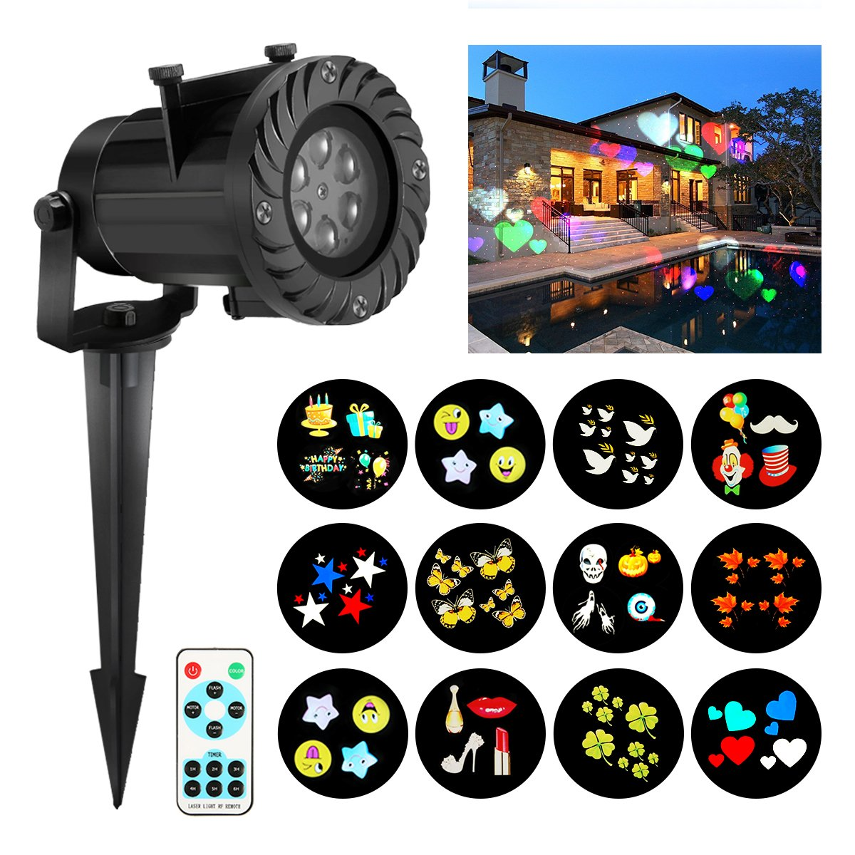 Christmas Projector Lights, JELEGANT LED Landscape Lights Projector Spotlights with Remote Control Waterproof Decoration Lighting with 12pcs Switchable Pattern Show for Halloween Holiday Party by JELEGANT (Image #1)
