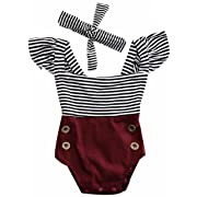 2Bunnies Newborn Toddler Baby Girl Striped Romper Bodysuit+Headband Sunsuit Outfit Set (6M, Burgundy)
