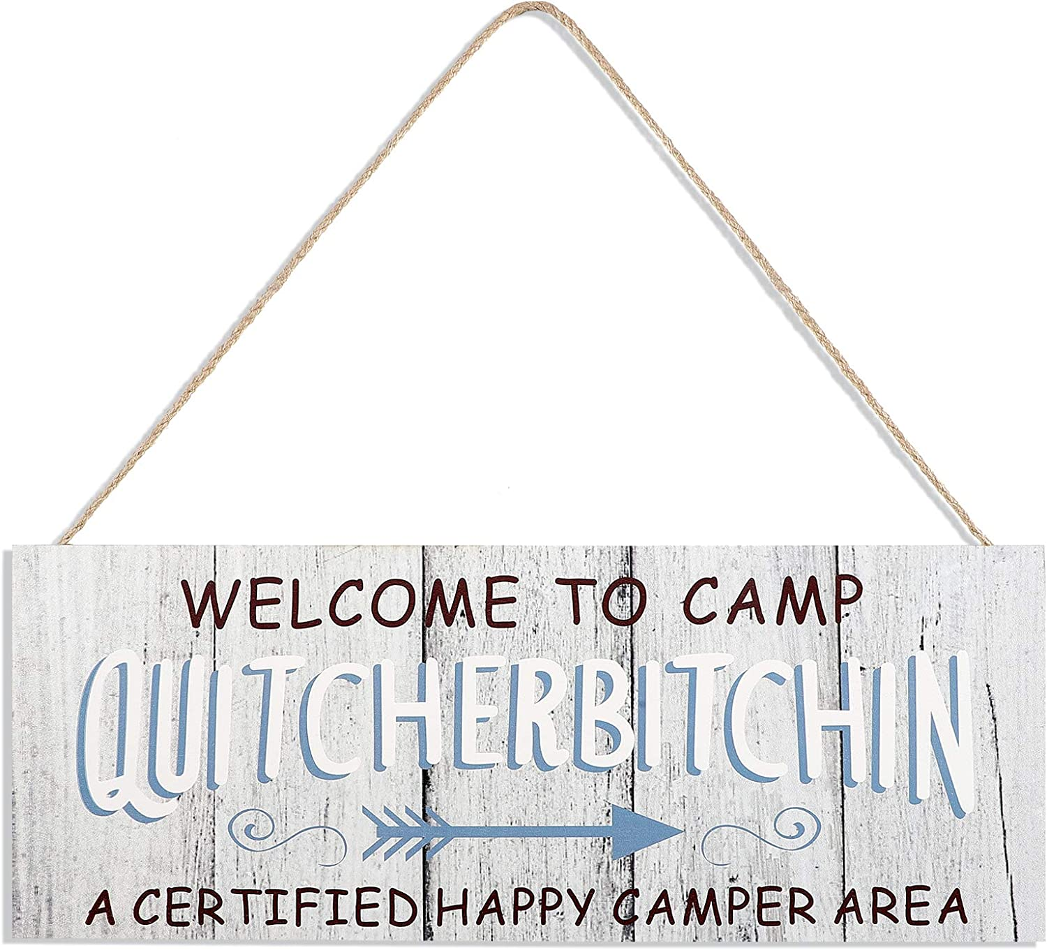 Jetec Welcome to Camp Quitcherbitchin Hanging Sign 13.8 x 5.2 Inch Wooden Camping Decor Plaque Camp Hanging Decoration for Campers Camping Outdoor Activities Home Decorations