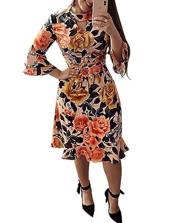 d1c40661fd179e MISOMEE Damen Blumen Hollow Tie Taille Rüschen Flare Ärmel Kleid S  Mehrfarbig: Amazon.de: Bekleidung