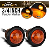 """Partsam Pair 3/4"""" Mini Marker Clearance Light Turn Signal Light 1 Diode Amber Light,3 Wires"""