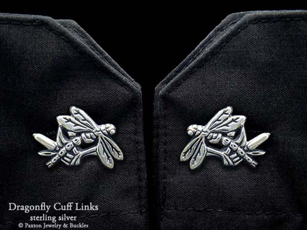 Dragonfly Cuff Links in Solid Sterling Silver Hand Carved & Cast by Paxton