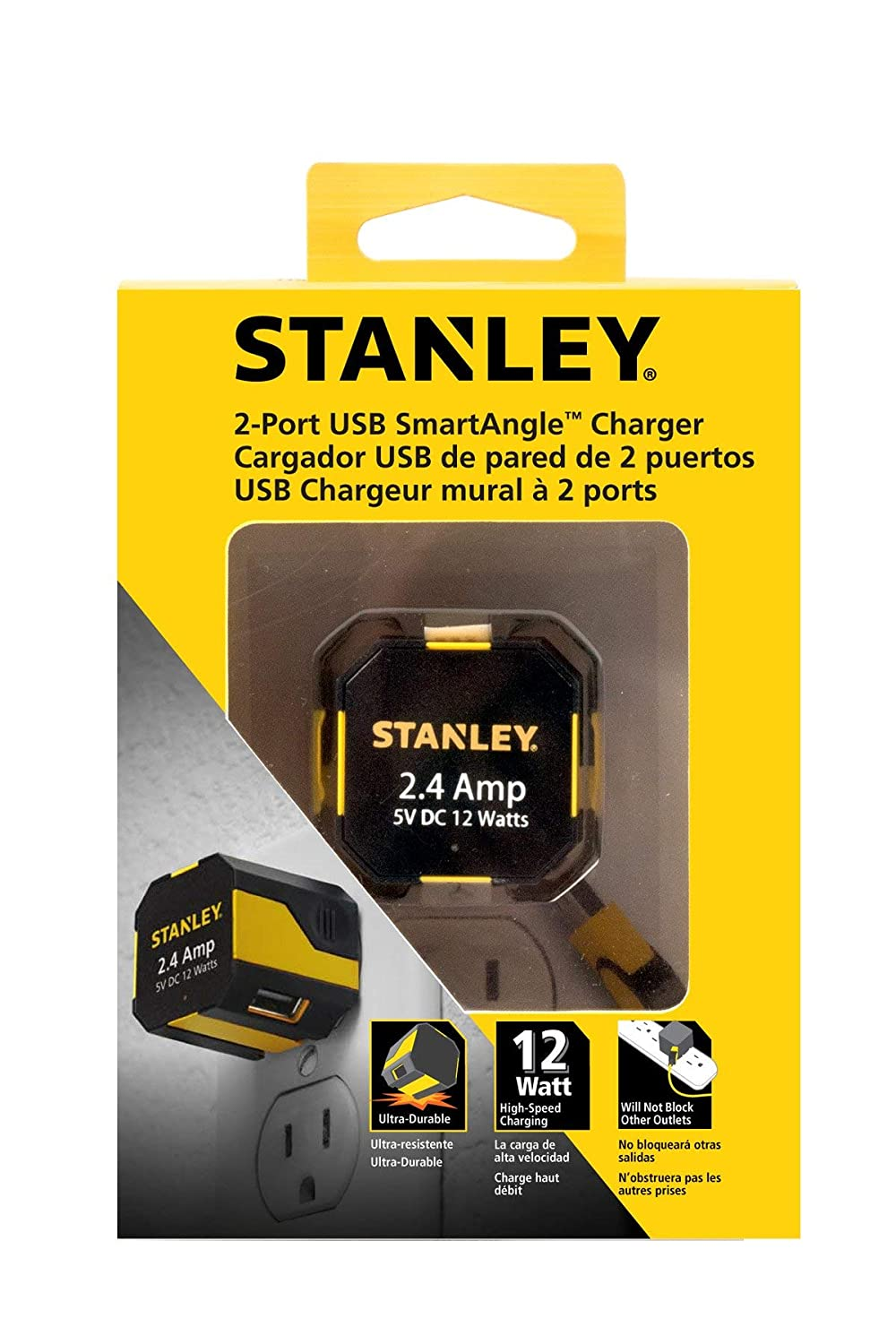 STANLEY 2-Port USB SmartAngle 2.4A 12W Wall Charger
