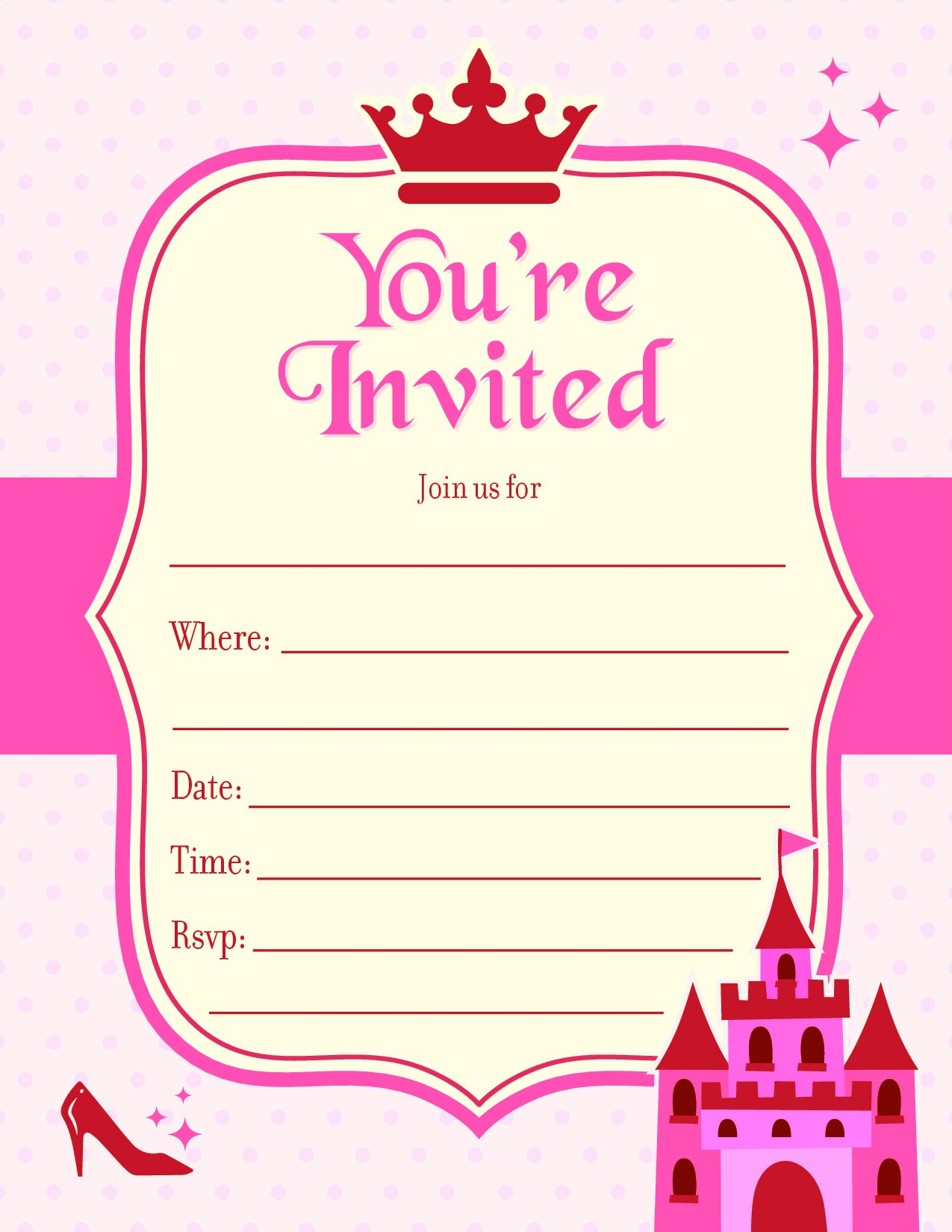 Kids Party Invitation   Fill in the Blank Birthday Event Invite ...