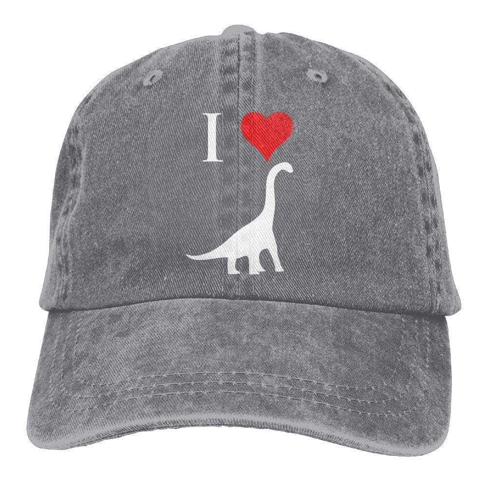 Ejdkdo Berretti da Baseball in Tessuto Denim Regolabile I Love Dinosaurs - Brachiosaurus cap Fashion17