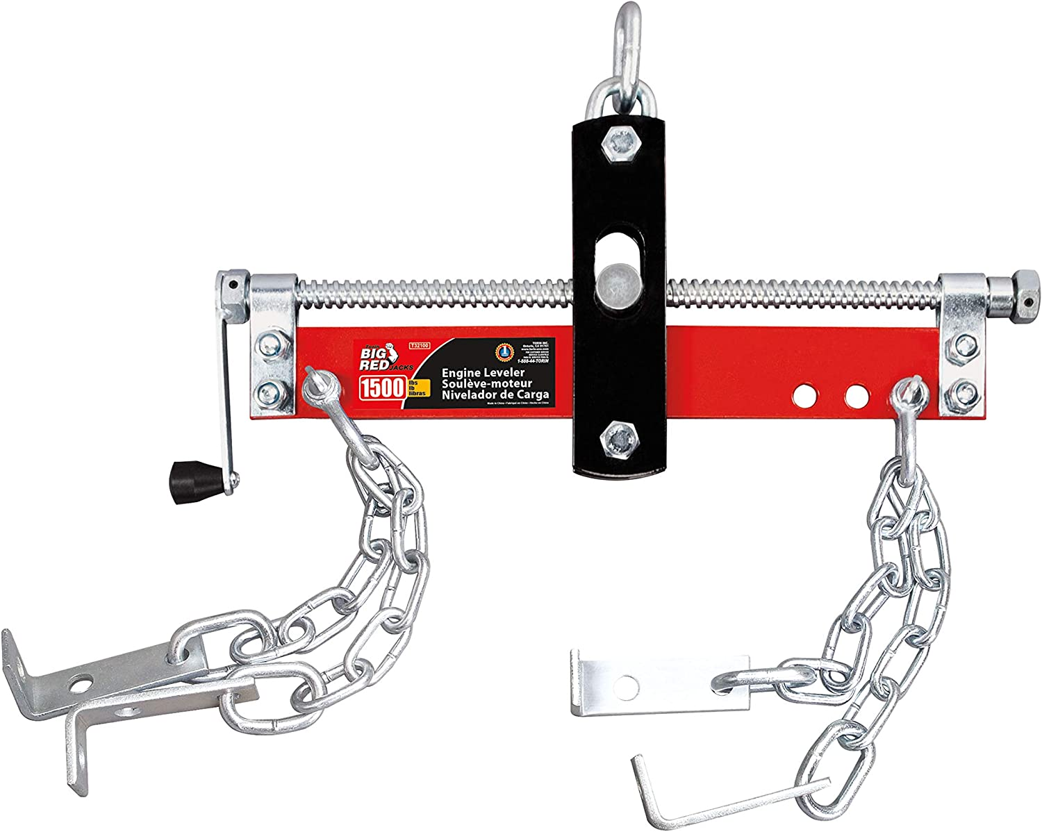 BIG RED T32100 Torin Engine Hoist Shop Crane Accessory: Steel 3 Position Engine Leveler with Adjustable Handle, 3/4 Ton (1,500 lb) Capacity, Red: Automotive