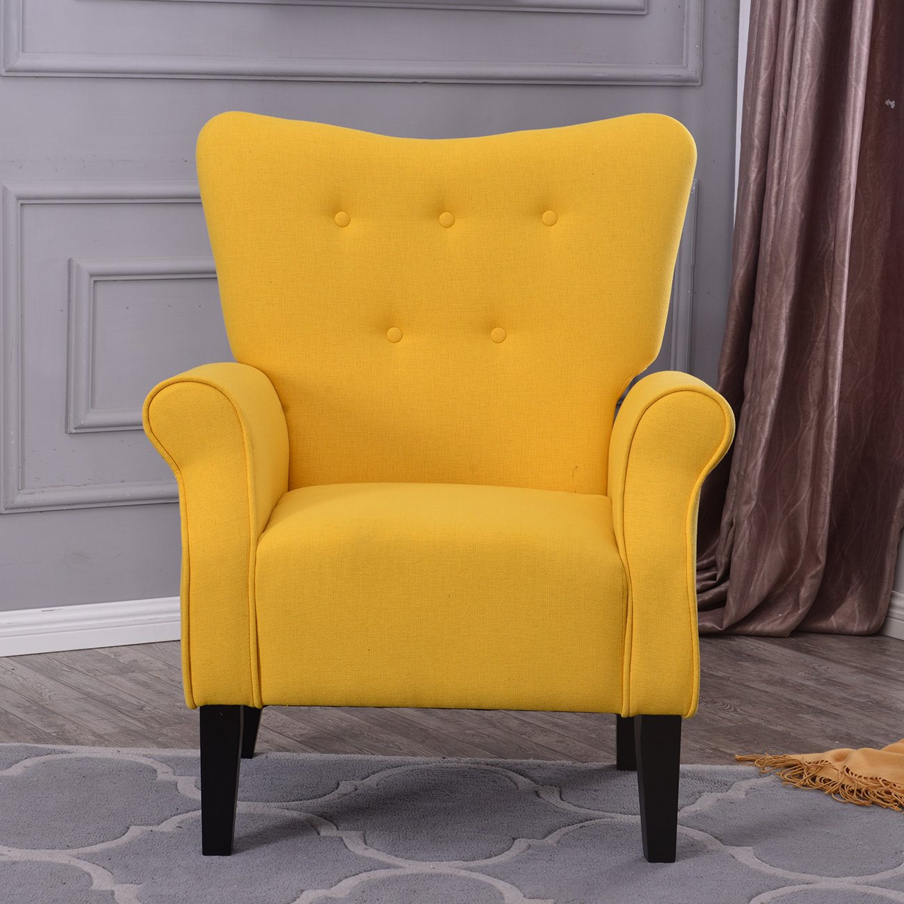 Belleze Modern Accent Chair Roll Arm Linen Living Room Bedroom Wood Leg (Citrine Yellow