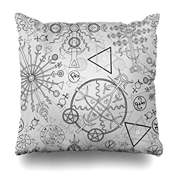 Ahawoso Throw Pillow Cover Retro Pattern Hand Drawn Mystic Esoteric Circle  Vintage Zodiac Witchcraft Magic Astrology Wiccan Decorative Pillow Case