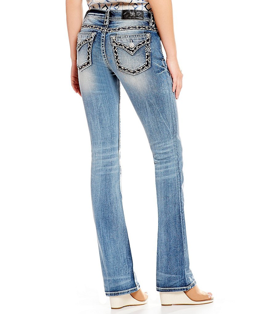 Miss Me Women's Heavy Stitched Boot Cut Jeans Indigo 32