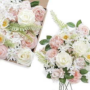 Ling's moment Artificial Flowers Combo Box Set Elegant Blush for DIY Wedding Bouquets Centerpieces Garlands Floral Arrangements Decorations