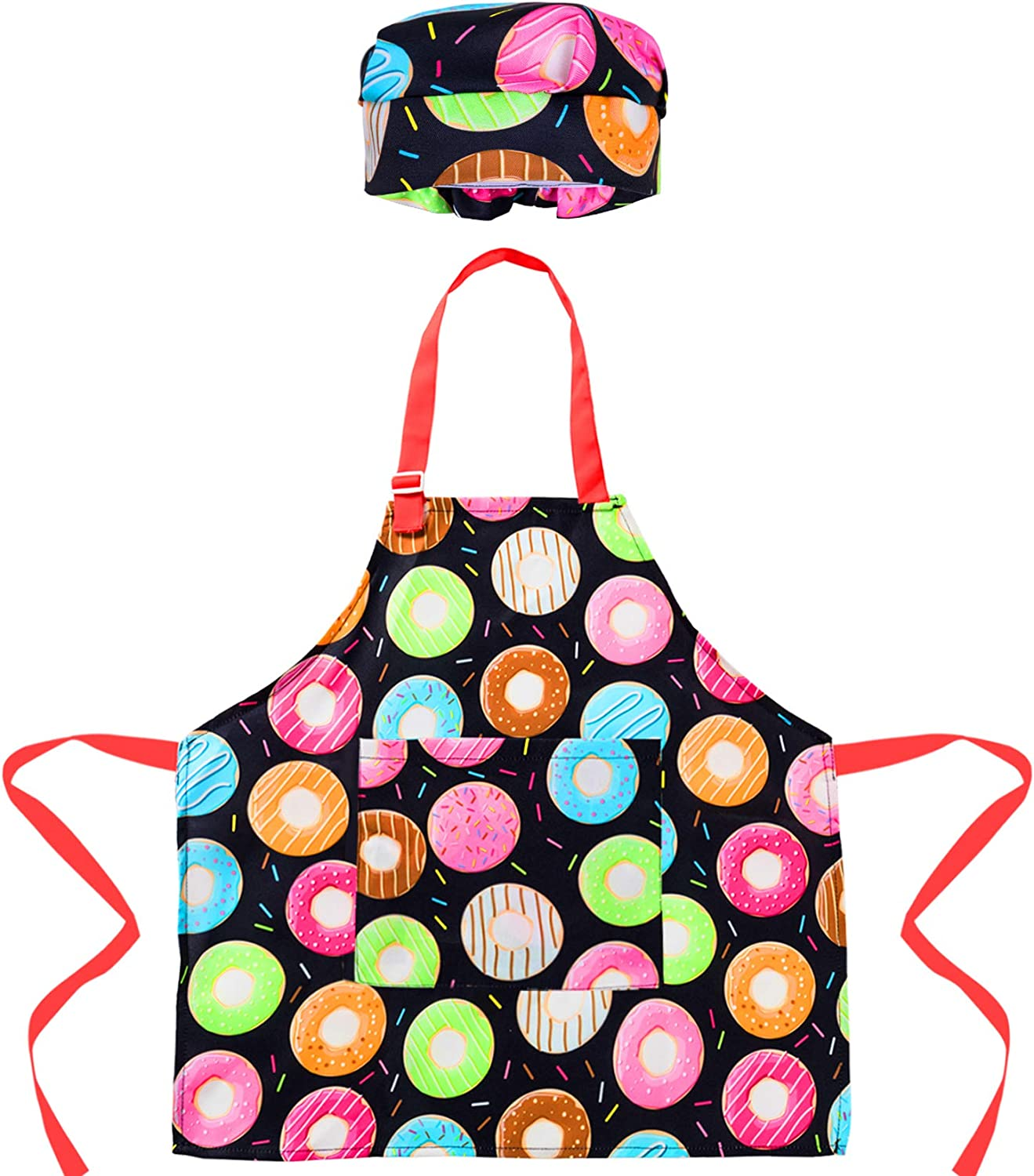 Childs Full apron with Chef Hat,Pink pastel butterflies and lace