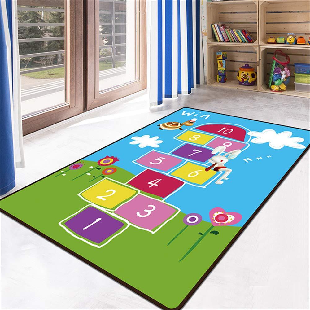 Educational Kids Area Rug, Alphabet ABC Numbers Animals Large Carpet, Non-Skid Vibrant Children Theme Playmat, for Boy Girl Playroom Bedroom Nursery Study Living Room (Sleeping Rabbit, 2'7''x3'11'')