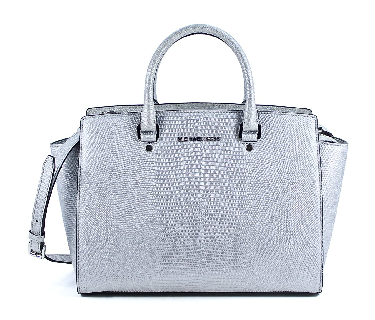 bf301c5d4 Amazon.com: Michael Kors Selma Large Top Zip Satchel Silver Leather  Shoulder Bag Purse: Shoes