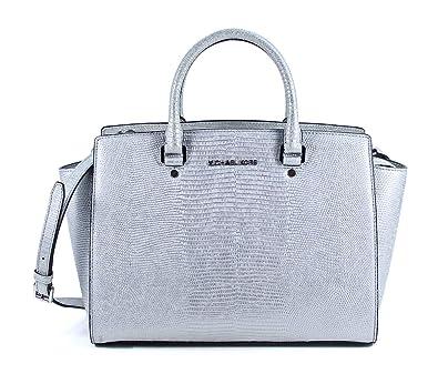 7b79464165f1 Amazon.com  Michael Kors Selma Large Top Zip Satchel Silver Leather  Shoulder Bag Purse  Shoes