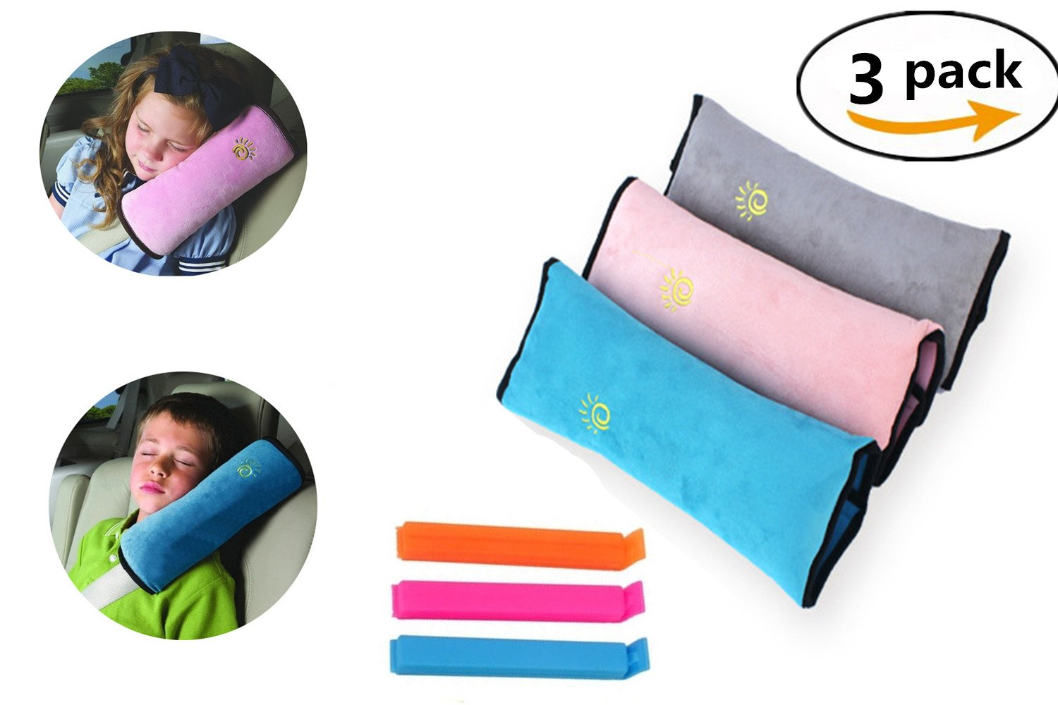 QICI Kids Seat Belt Pillow |3 Pack Seat Belt Pillow for Children|Universal Car Seatbelt Cushion Pillow| Car Travel Head Cushion, Washable Cover, Headrest Pink Gray Blue (3 Color)