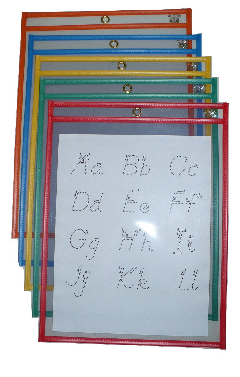 Reusable Dry Erase Pockets/Job Shop Ticket Holders, 9''x12'', Assorted Colors, 25 per Box, by Reflection 503 by Reflection 503 (Image #1)