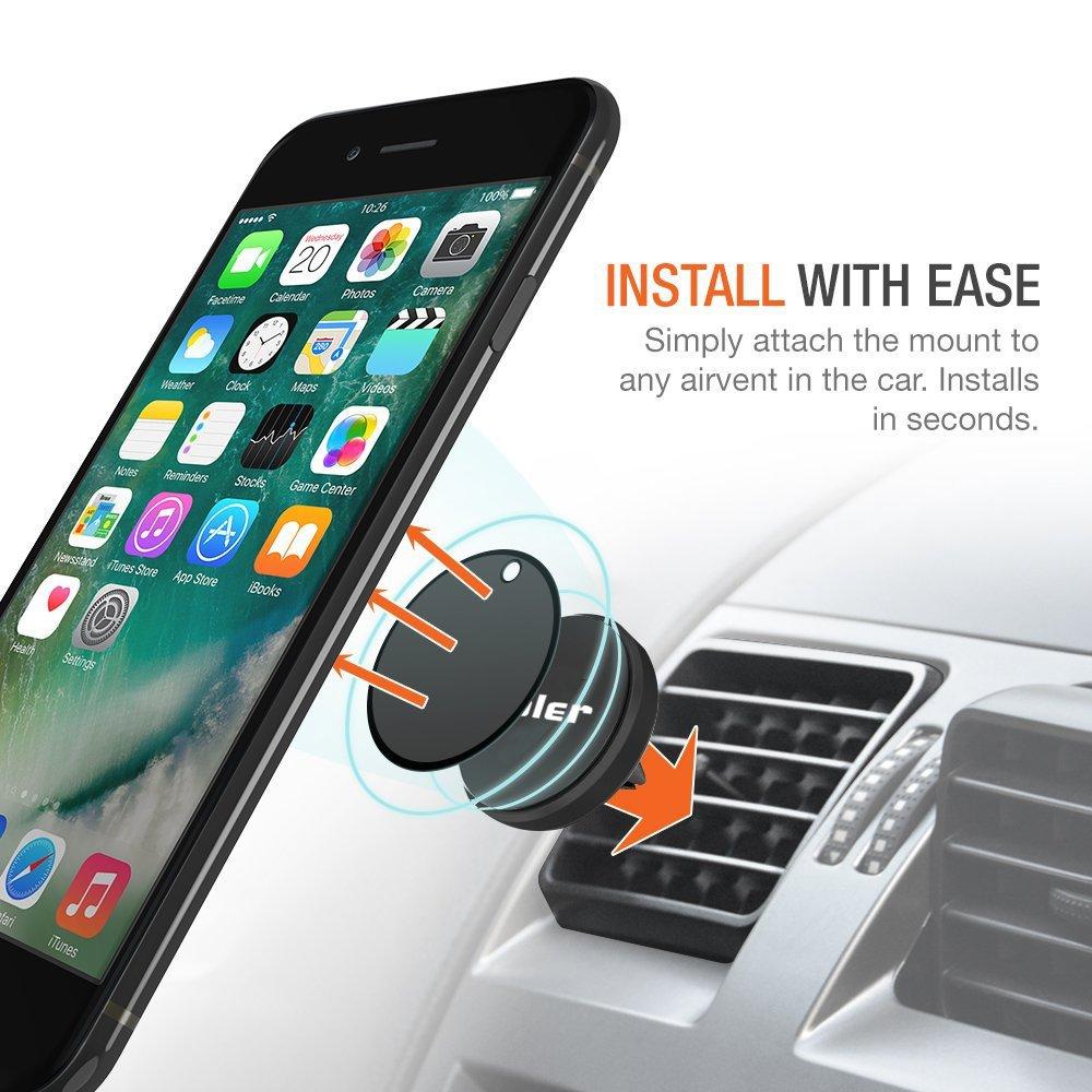3 Pezzi Porta Cellulare da Auto Supporto Smartphone per Telefono Magnetico Ventilazione bocchette Metallo calamita Universale Adesivo iPhone Samsung Huawei ASUS Zenfone 360/° Girevole-Nero iVoler