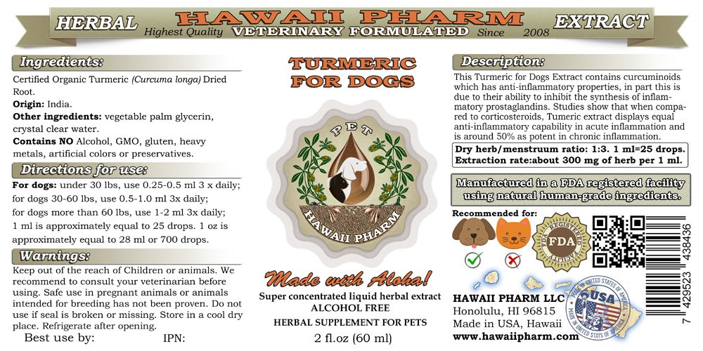 HawaiiPharm Turmeric for Dogs, Veterinary Natural Alcohol-Free Liquid Extract, Pet Herbal Supplement 2 oz by HawaiiPharm (Image #2)