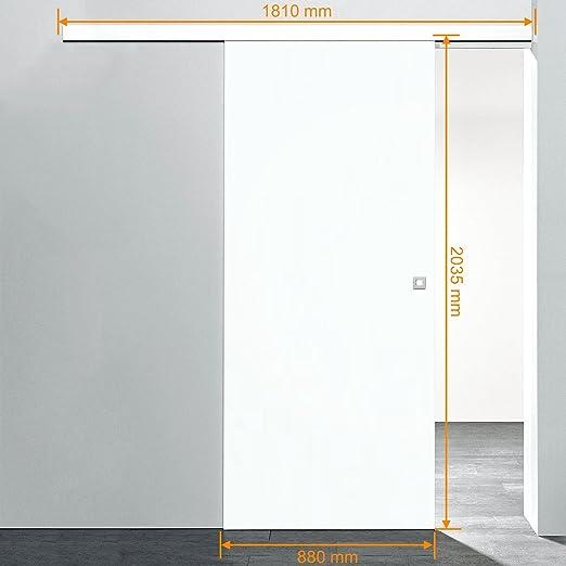 Inova Holz Schiebetür Zimmertür 880x2035mm Weiß Komplettset Mit Laufschiene  U0026 Holztür, Quadratgriff Star: Amazon.de: Küche U0026 Haushalt