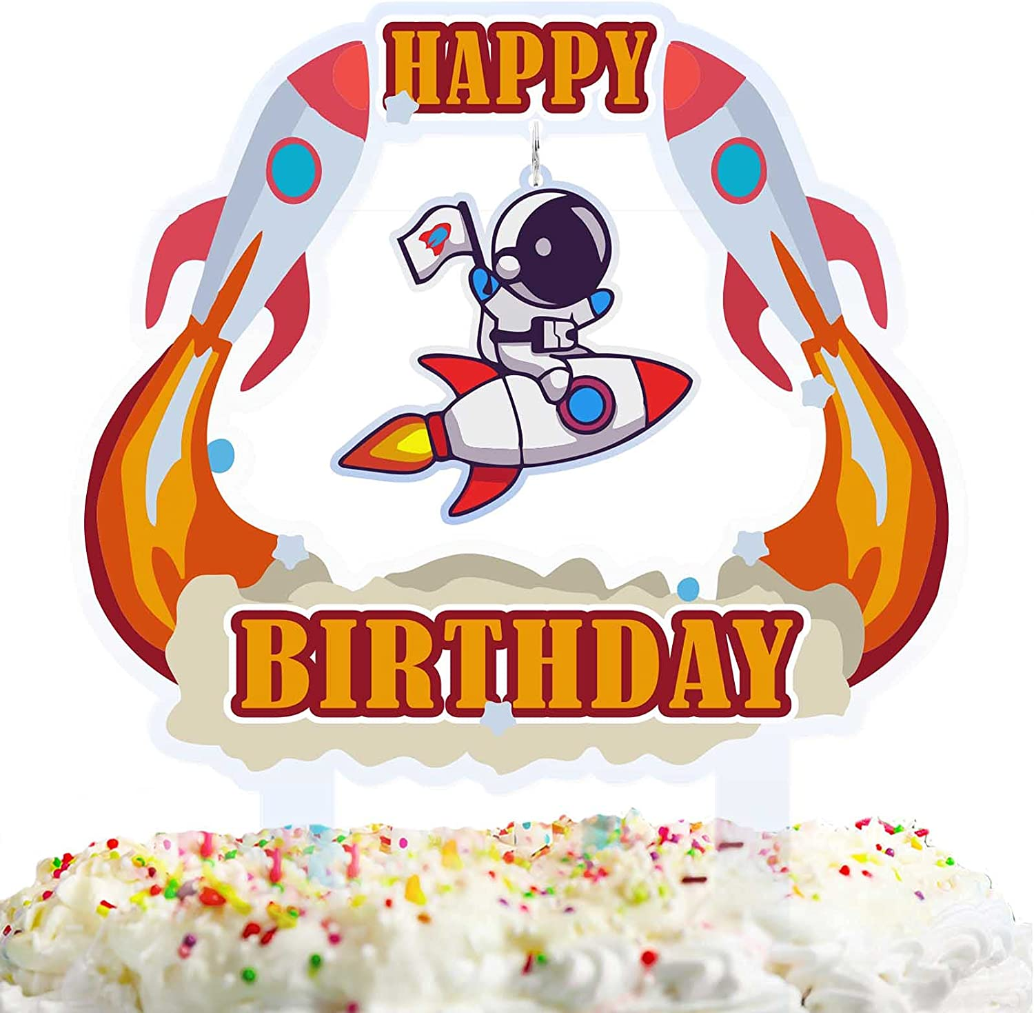 Astronaut Happy Birthday Acrylic Cake Topper Red Blast off Rocket Theme Decorations Shower Baby Birthday Party Decor Supplies