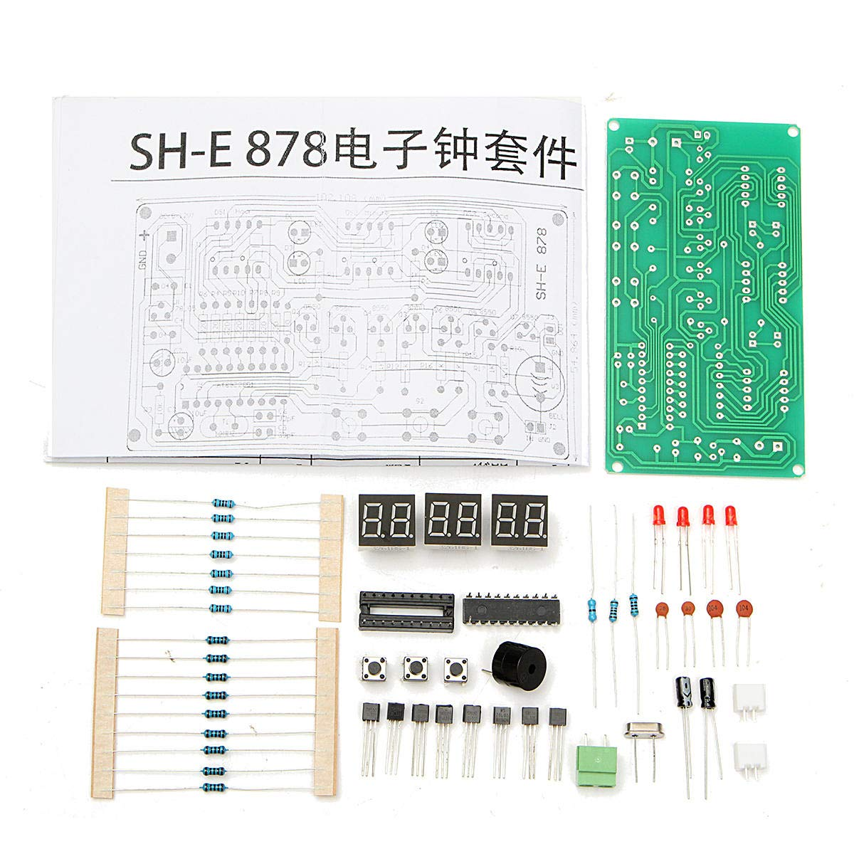 5V-12V AT89C2051 Multifunction Six Digital LED Electronic Clock Kit - Arduino Compatible SCM & DIY Kits Arduino Compatible Kits & DIY Kits - 1 x LED ...