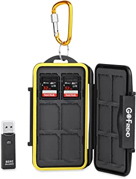 Gofriend - Funda de transporte para Tarjetas de memoria, impermeable, profesional, Protector de viaje para SD, SDHC, SDXC, con mosquetón y lector de tarjetas: Amazon.es: Electrónica