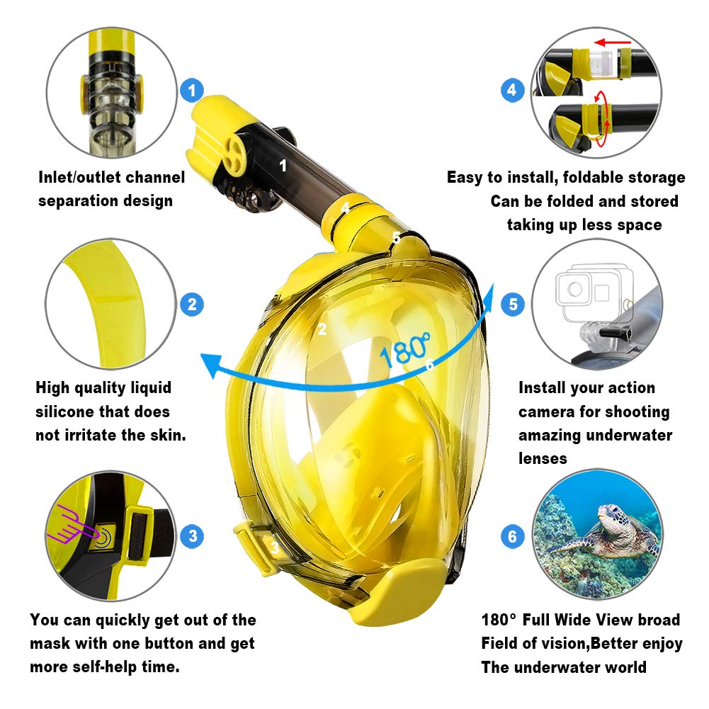 WSTOO Full Face Snorkel Mask-Advanced Safety Breathing System Allows