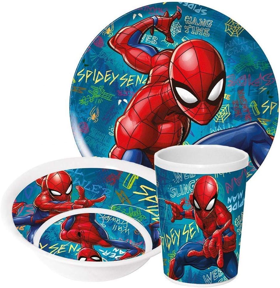 myToyscenter Vajilla de melamina Spiderman