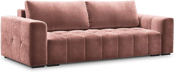Milo Casa Luca 3 Seater Convertible Velvet Sofa With Storage Box Pink 250 X 105 X 85 Cm Küche Haushalt