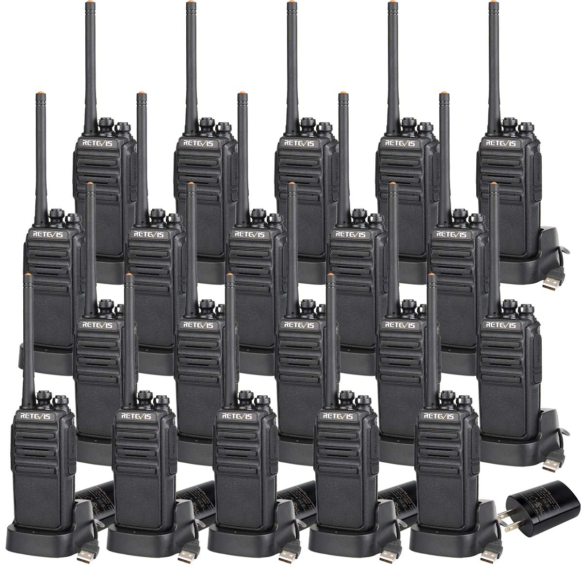 Retevis H-777S 2 Way Radios Walkie Talkies Rechargeable Voice Encrypt Security Monitor Scan Function Two Way Radio Long Range (20 Pack) by Retevis