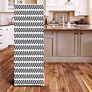 Angel-LJH Geometric 3D Door Fridge DIY Stickers,Curlicue Design Wavy Ocean Pattern Aquatic Travel Cruise Theme Maritime Door Cover Refrigerator Stickers for Home Gift Souvenir,24x70