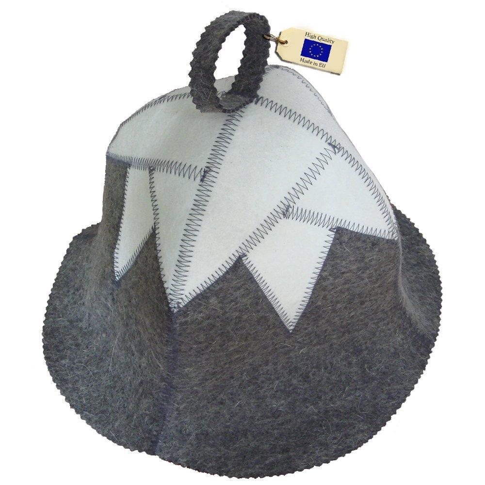 Borsch Russian Sauna Set Hat Mitten Mat Natural Sheeps Wool
