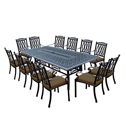 Genial 13 Piece Black Morocco Outdoor Patio Stackable Chair Dining Set W/Tan  Sunbrella Cushions