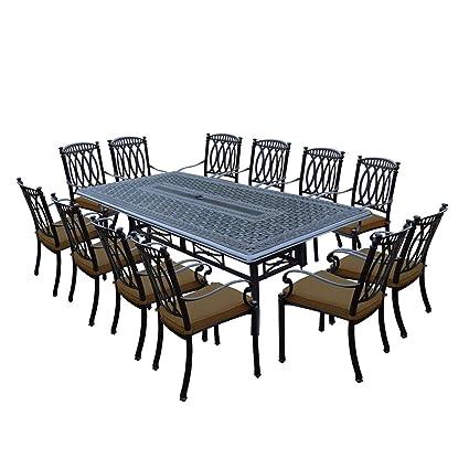 Superieur 13 Piece Black Morocco Outdoor Patio Stackable Chair Dining Set W/Tan  Sunbrella Cushions