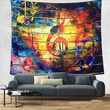 DIPPERION Colorful Music Tapestry Ethnic Musical Note Wall Hanging Psychedelic Bohemian Mandala Decor