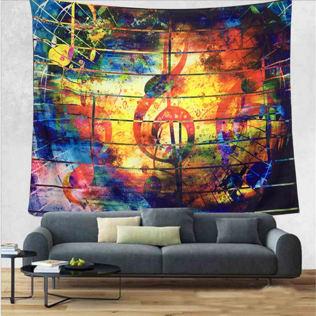 DIPPERION Colorful Music Tapestry Ethnic Musical Note Tapestry Wall Hanging Psychedelic Bohemian Mandala Wall Tapestry Decor for Bedroom Living Room Dorm