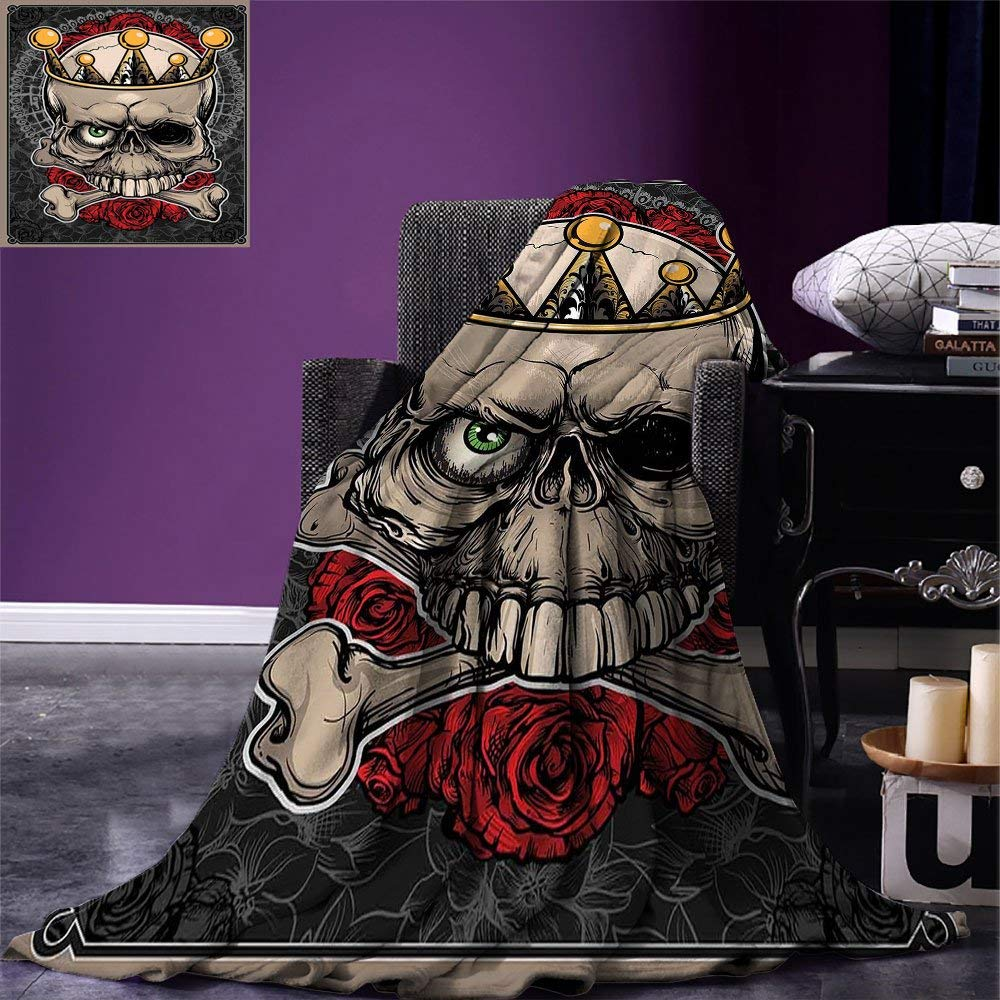 color04 90 x108  VAMIX Gothic Decor Warm Microfiber All Season Blanket Day of The Dead Illustration with Sugar Skull Girl in Decorative Flower Wreath Print Artwork Image£¬Multicolor, Blanket