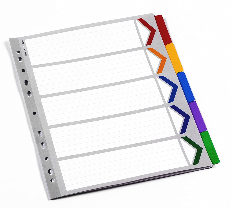 Rexel Mylar - Divisori formato A4, 5 parti,colori: bianco/multicolore 75687