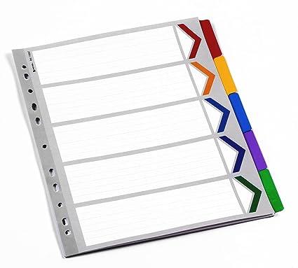 Rexel Mylar - Índice con 5 separadores tamaño A4 para archivador, color blanco y multicolor