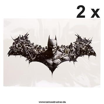 Batman XL Piel Tattoo - Pecho Fake temporäres Tattoo - hb404, Negro, 2x Batman XL Tattoo: Amazon.es: Hogar