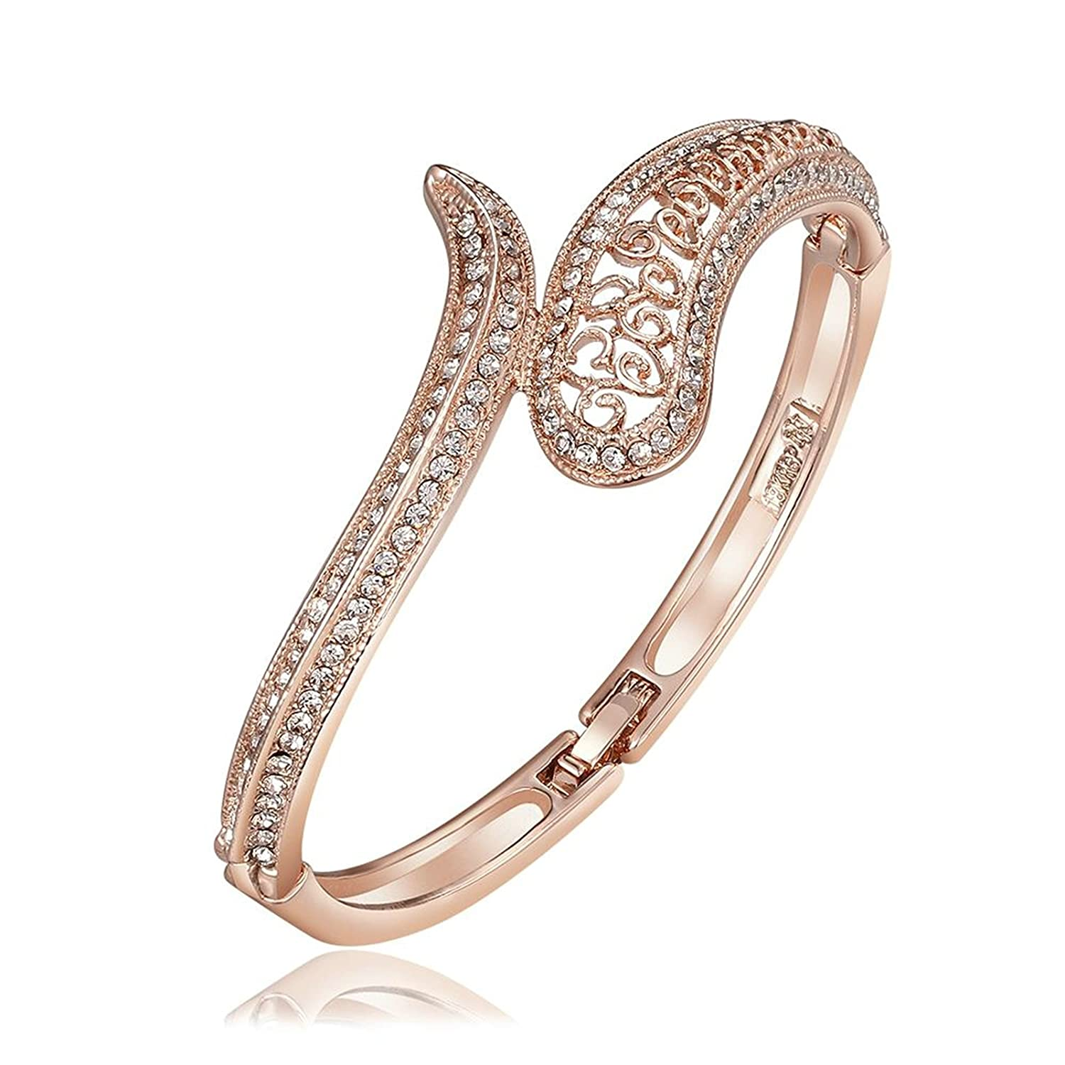 Aokarry Bangle Bracelet-Gold Plated Womens Charm Bracelet Bangle Cubic Zirconia Hollow Design Rose Gold