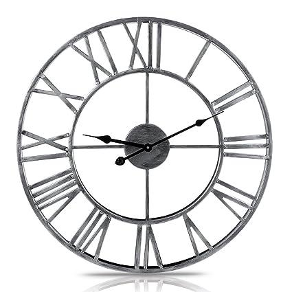 MRKE 50CM 3D Metal Reloj Pared Grande XXXL Silencioso Vintage Números Romanos Retro Design Reloje de